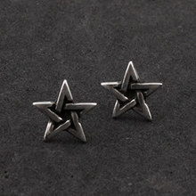 Fashion Jewelry Vintage Punk Gothic Black Star Stud Earrings For Men(China (Mainland))