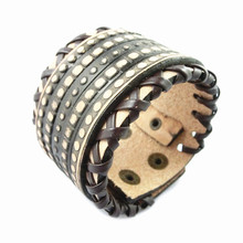 2015 Luxury design ! Genuine leather charm bracelet fashion leather jewelry wide grid punk style men bracelet free ship NSL-123