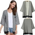 Women s Spring Summer Kimono Style Lace Fringed Casual Blouse blusa de frio Outwear Coat Hot