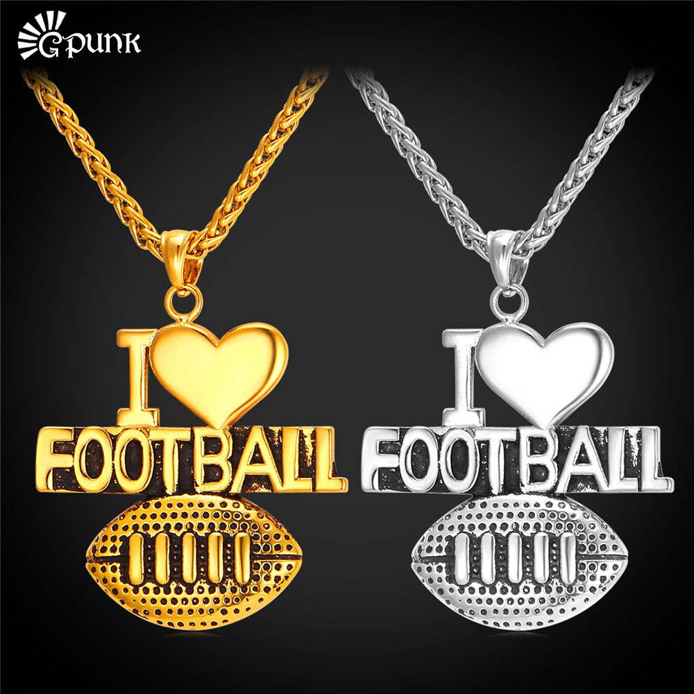 I Love Football Charms With Gold Chain Unisex Necklaces & Pendants For Baseball Fans Gold Filled Platinum Plated Gift P2143G(China (Mainland))