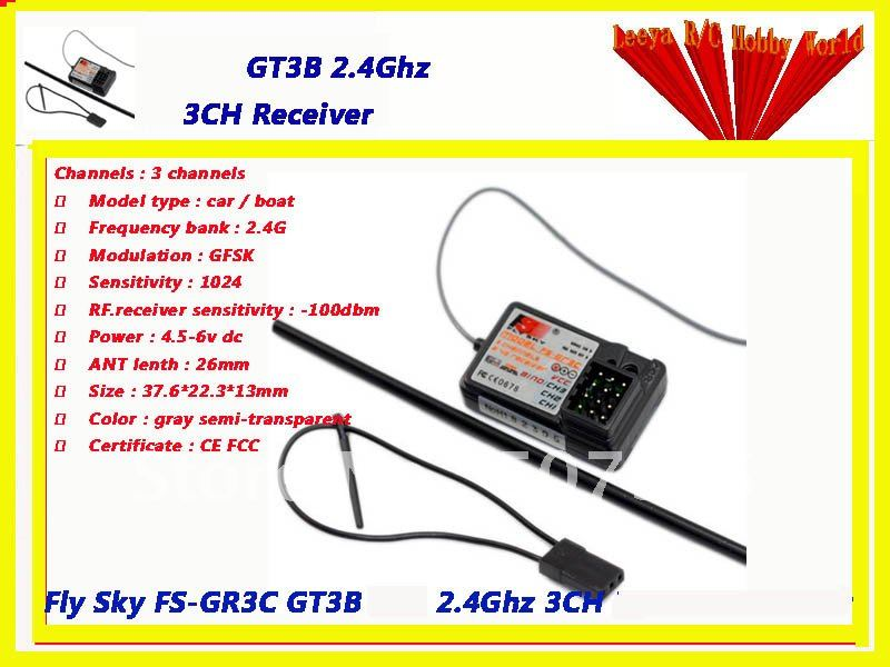Fly Sky FS-GR3C GT3B GT2 2.4Ghz 3CH Receiver wholesale free shipping(China (Mainland))