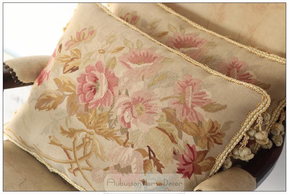 Handmade Shabby Chic Pillows : A Pair Wool Handmade Aubusson Pillow Cushion shabby chic home decor 18