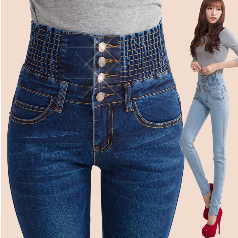 High Waist Jeans Women 2015 New Denim Blue Skinny Jeans Slim Fashion Long Pencil Hot Jeans Pants Button Blue Trousers(China (Mainland))