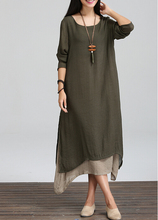 Buy Spring Winter Dress Loose Waist Long Sleeve Women Dress Plus Size Vintage Dress Casual Linen O Neck Floor Length Maxi Dress for $13.35 in AliExpress store
