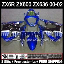 8gifts KAWASAKI ZX 6R 00 01 02 636 ZX6R blue black A789 ZX636 ZX-636 ZX-6R NINJA 2000 2001 2002 hot white Fairings - Motomarts store