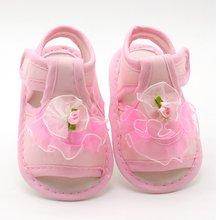 פרח ילדי סנדלי בנות קיץ נסיכת תינוק פעוט ילדי רך כותנה בד נעליים(China)