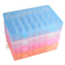 Adjustable 24 Compartment Transparent Plastic Storage Box Jewelry Earring Case small objects Caja de almacenaje(China (Mainland))