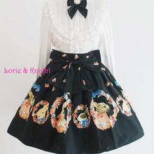 Buy Girls Wreath Rabbit Print Ruffled Sweet Lolita Skirt Black SK for $52.40 in AliExpress store