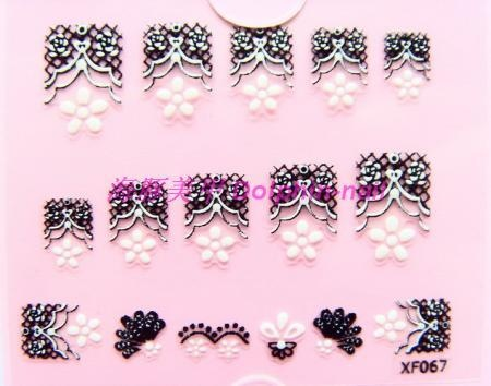 20pcs/lot 3d three-dimensional finger stickers nail polish oil applique nail art patch lace applique hxf067(China (Mainland))