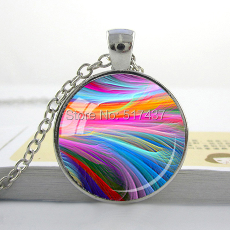 Glass Photo Cabochon ,Rainbow Pendant,Fractal Glass Pendant Multicolor Red Orange Green Blue Pink Purple Fractals, Art Glass(China (Mainland))