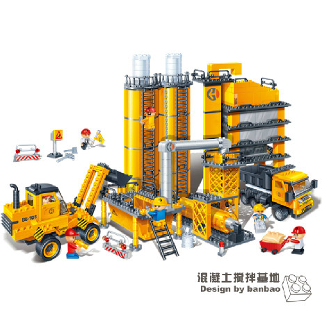 building block set compatible with lego engineering Concrete mixing site 3D Construction Brick Educational Hobbies Toys for Kids(China (Mainland))