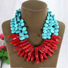 Fashion Woman Choker Water Drop Turquoise Red Natural Coral Necklace Exaggerated  2 Row Free Shipping Fashion Jewelry(China (Mainland))