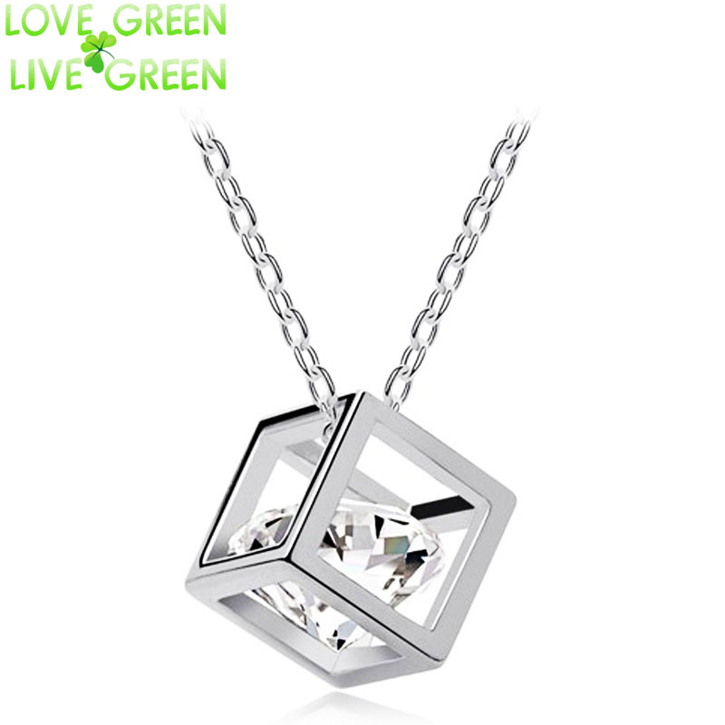 top selling Free Shipping Hot sales high quality import Crystal float zircon cubic Pendant Necklace chain fashion jewelry 84538(China (Mainland))