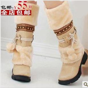 Winter boots snow female shoes wool bandage medium-leg fur tassel women's flat heel winter - Online Store 808308 store