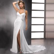 2016 High Quality Sexy High Slit Chiffon Wedding Dresses Halter Neck Vestidos de Novia Delicate Beaded Bridal Gowns(China (Mainland))
