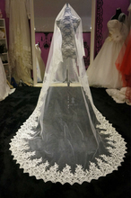 2014 New Free Shipping Wholesale/Retail White Ivory One Layer Lace Edge Long Wedding Veil Bridal Accessories High Quality A004(China (Mainland))