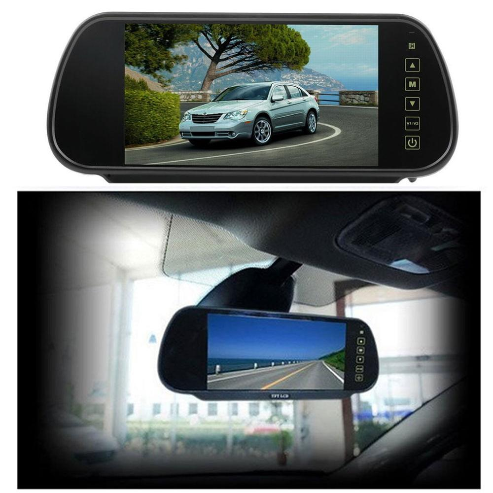 7 Inch Car Mirror Monitor 16:9 TFT LCD Widescreen Car Rearview Mirror Monitor with Touch Boutton for Auto Support 2 Video Input