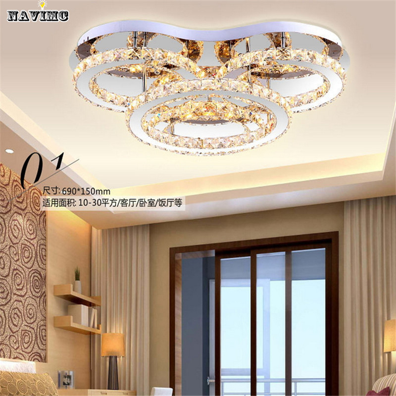 Купить 4 кольца современный flushmount из светодиодов хрустальные светильники дома люстры cristal лампы с warmwhite Dia690 * H150mm бесплатная доставка