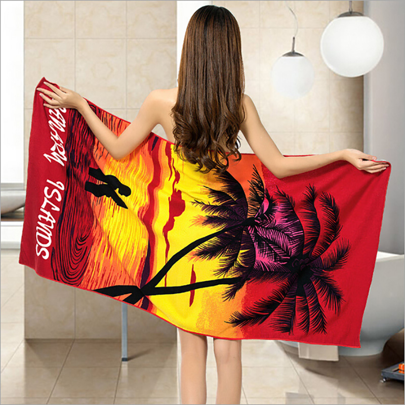 High Quality Microfiber Fabric Women Towels Coconut Tree Printed Out Wear Beach Towel Rectangle Bath Towel Super Absorbent(China (Mainland))