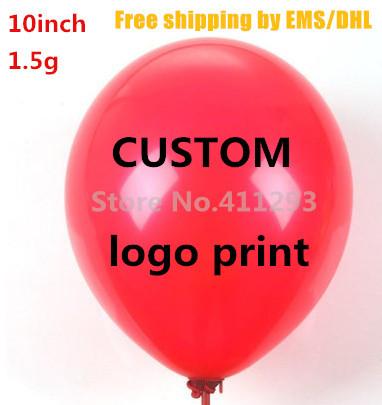 1000pcs Custom balloon printing Advertising ballon logo print on balloons 1.5g globos Blanco latex balloon ship via EMS(China (Mainland))