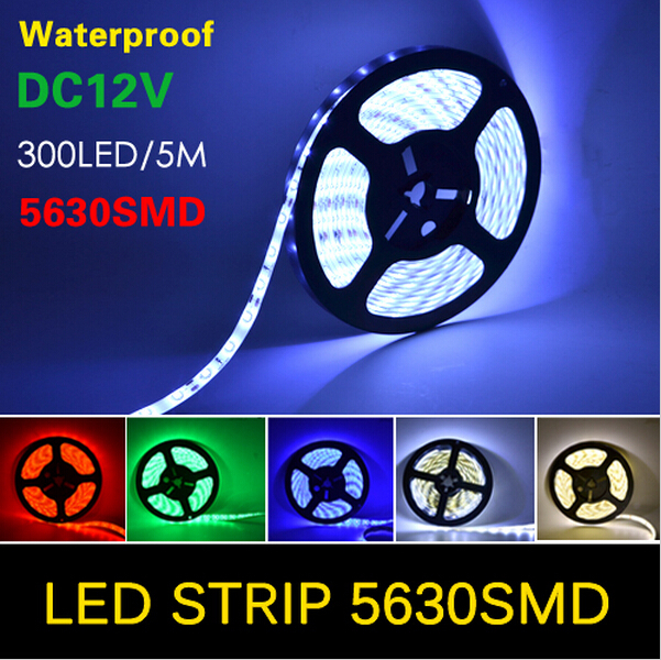 New Arrival 5M 300Leds Waterproof RGB Led Strip Light 5630 DC12V 60Leds/M Fiexble Light Led Ribbon Tape Home Decoration(China (Mainland))