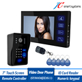Multi functional door intercom wired video door phone 7 door monitor support swiping RFID card remote