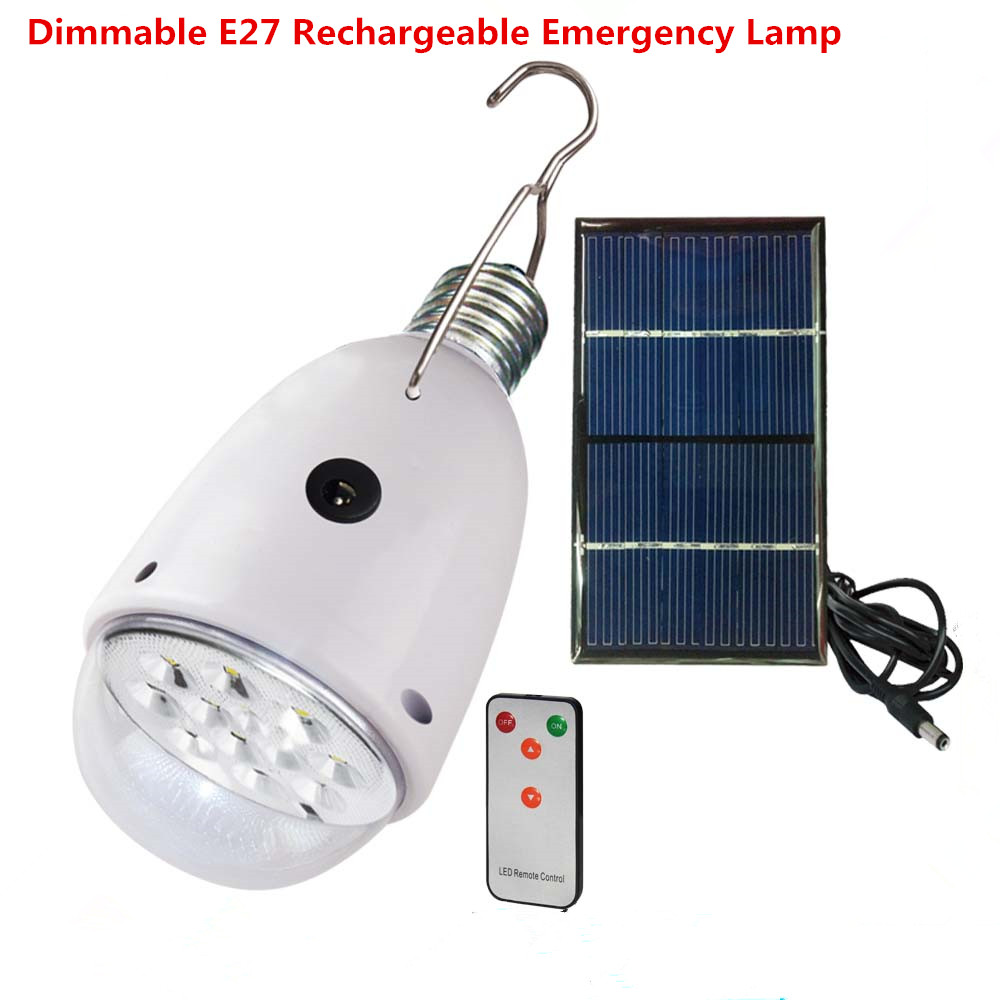 Rechargebal indoor lighting dimmable e27 led solar lamp with remote control ac90 260v dc6v for Remote control exterior lights