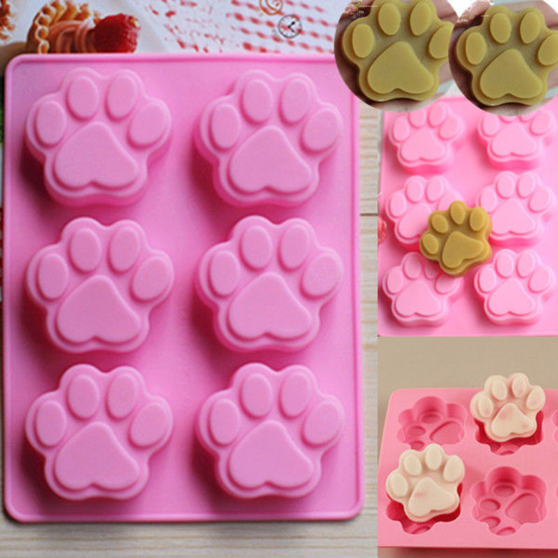 2016 Brand New Cute Silicone Cake Mould Tool Cat Dog Paw Fondant Mold Cake Soap Cookies Chocolate Baking Tin Mould(China (Mainland))