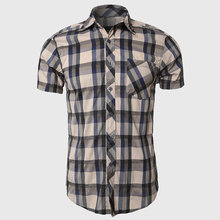 Men Fitted Short Sleeve Plaid Shirt Checkered Cotton Blend Blue Yellow Summer College Stylish With Scoop Hem(China (Mainland))