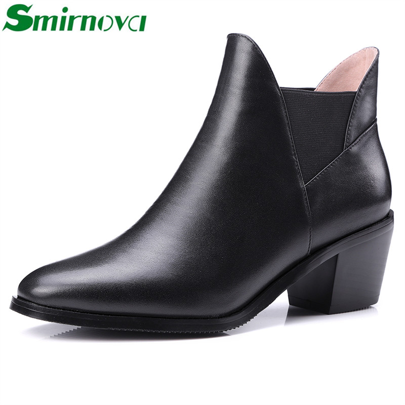 Фотография high sale 2016 spring autum ladies ankle boots top quality genuine leather square heels elastic band simple elegant women shoes