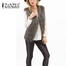 Zanzea 2016 Women Faux Fur Winter Sleeveless Cardigan Coat Luxury Peacock Feather Fur Vest Ladies Slim Waistcoat Long Outwear(China (Mainland))