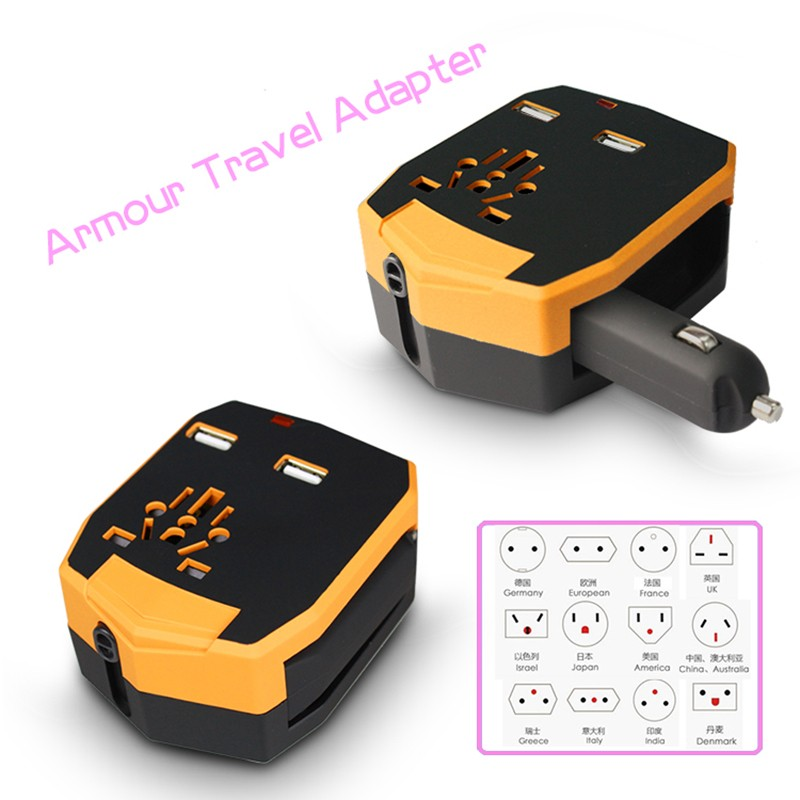 2PCS/Lot Best Worldwide Travel Adapter with Dual USB Ports and Power Bank Universal US UK EU AU Mobile Phone Battery Charger
