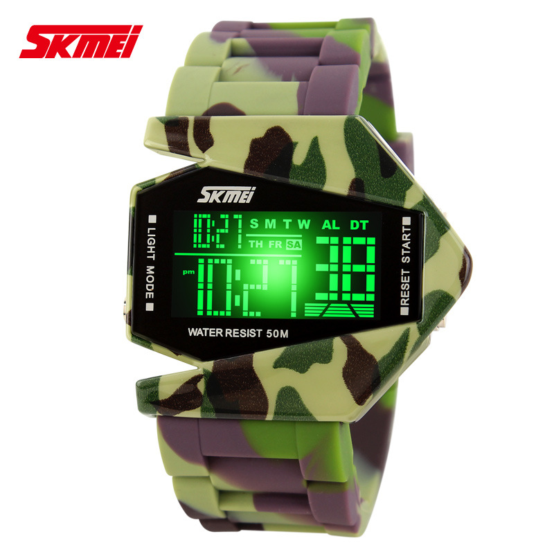 Electronic watch authentic beauty fashion camouflage plane time table plane plane water depth of queer Korean 0817B(China (Mainland))