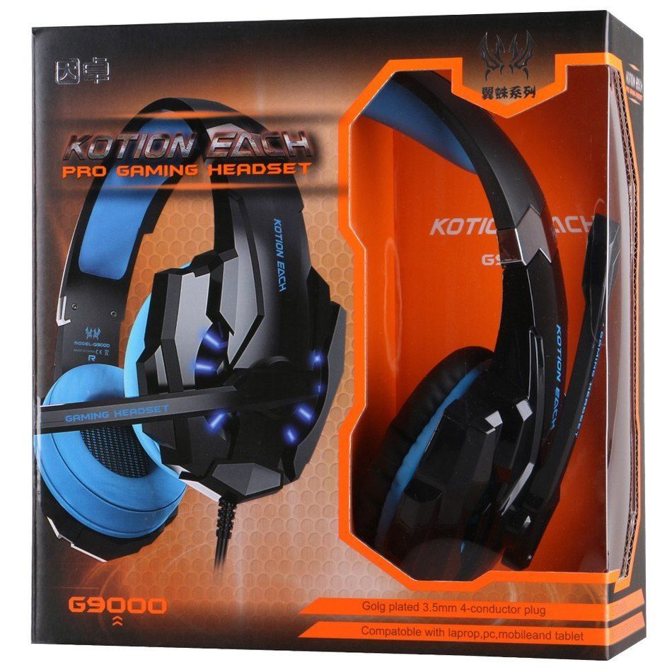 KOTION EACH G9000 3.5mm Game Gaming Headphone Headset Earphone With Mic LED Light For Laptop Tablet /PS4 / Mobile Phones(China (Mainland))
