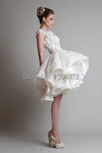 Hot Sale Cheap White Ivory Appliques Organza Puffy Skirt Short Wedding Dresses Bridal Gowns Knee Length