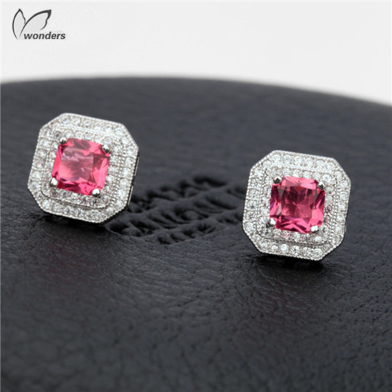 Famous Brand Jewelry Luxury Crystal Platinum Plated +AAAA Zircon Geometric Square Charm Stud Earrings For Women Men Gift<br><br>Aliexpress