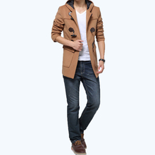 free shipping Men Hooded Duffle Coat Toggle Wool Blend Trench Jacket Outerwear Slim Blue/Khaki 145(China (Mainland))