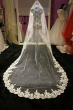 Top Quality! 2015 Long 1 Layer White Ivory Tulle Lace Edge Wedding Veils Free Shipping Wedding Accessories V7(China (Mainland))