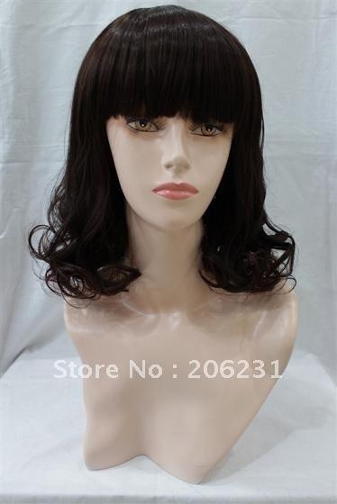 Medium Long brown Party Hair WIG Cover fact face HEAT-RESISTANT FIBER hair wig 10pcs/lot