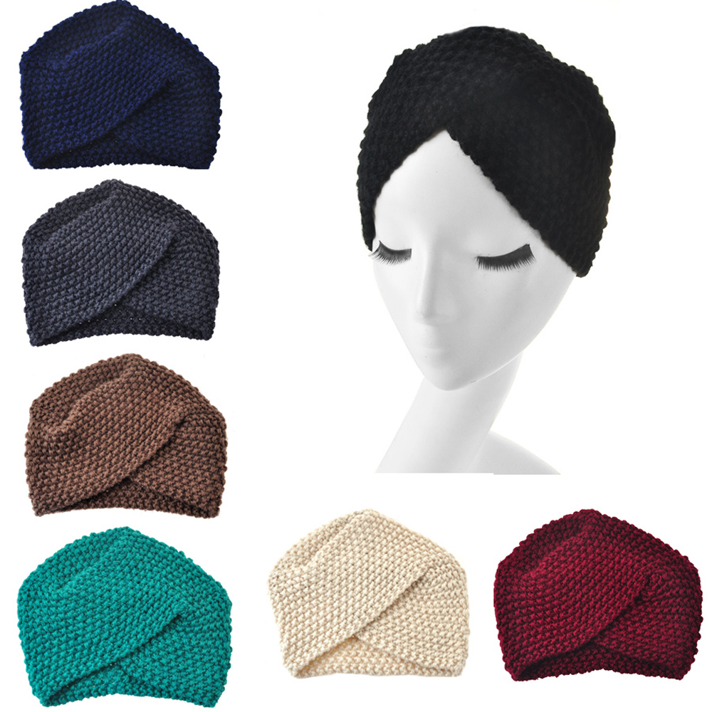 2017 New Fashion Ladies Girl's Winter Warm Turban Soft Knit Beanie Crochet Headwrap Women Hat Cap Hairband(China (Mainland))