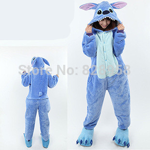 Flannel Winter blue stitch cartoon Animal Pajama Sets Women and men Couple Household Clothes Family Women Sleepwear S M L XL
