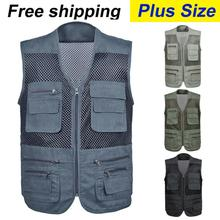 free shipping 2016 New Arrival plus size  male outdoor casual multi-pocket  film vest mesh vest jacket L-4XL(China (Mainland))