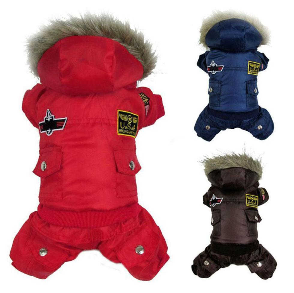 Hot New Arrival Hot Winter Warm Small Dog Pet Clothes Padded Hoodie Jumpsuit Pants Apparel XS-XL(China (Mainland))