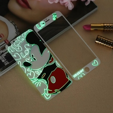 Glow in the dark luminous raised Mickey Tempered Glass film Screen Protector+back cover for iPhone 6 case 6S 6 Plus 6splus