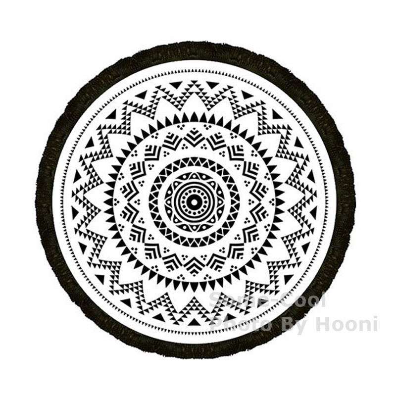 Some-Cool 59 Inch Diameter 100% Cotton Terry Beach Towel Reactive Printing Route Beach Towel With Tassels Round Beach Towel(China (Mainland))