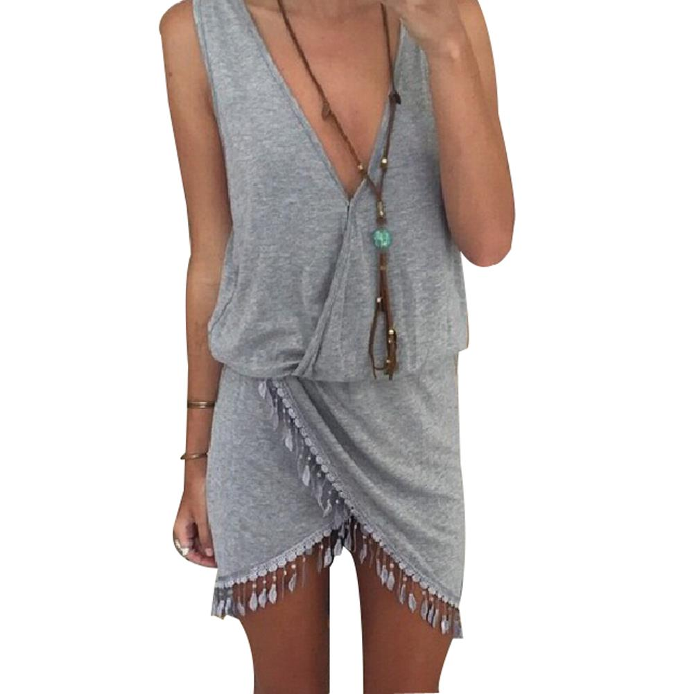 Casual Summer Dress Fringe Tassel Dresses Sexy Grey V-Neck Tulip Smock Waist Front Wrap Women Summer Dress 2015 Vestido Vestidos(China (Mainland))