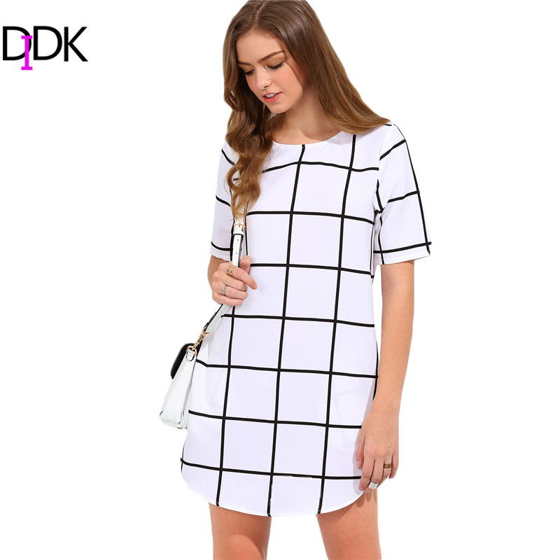 DIDK Woman Black and White Pocket Check Shift Dresses Ladies Summer Casual Short Sleeve Round Neck Plaid Short Dress(China (Mainland))
