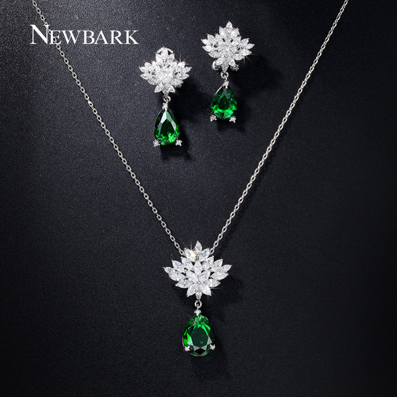 NEWBARK Romantic Snowflake Flower Pear Shaped AAA+ CZ Diamond Teardrop Stud Earrings and Necklace Set Green And Clear Choices<br><br>Aliexpress