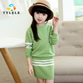 Girls Clothing sets 2016 Autumn Winter Girls Clothes Striped Knitwear Sweater Skirt Children Clothing Set Kids