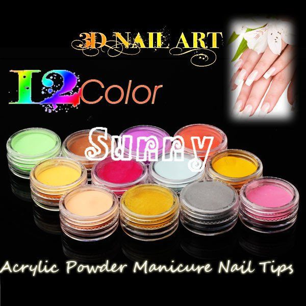 ONE PIECE New 12 Colors Fashion Nail Decoration Carved pollen crystal powder Nail Powder For Nail Art Tips M555(China (Mainland))